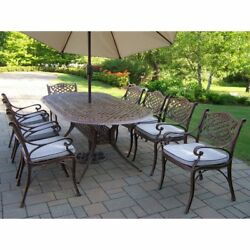 Oakland Living Mississippi Cast 82 x 42 in. Oval Patio Dining Set with Chairs