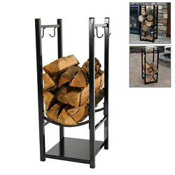 Fireplace Log Holder Rack Wood Carrier IndoorOutdoor Contemporary Stacker Black