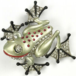 MB Boucher Pave Metallic Enamel and Ruby Cabochons Tree Frog Pin