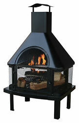 Wood Burning Fire Pit Patio Deck Chiminea Outdoor Garden Backyard BBQ Fireplace