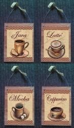 Coffee Pictures Cappuccino Mocha Wall Hanging Kitchen Diner Home Decor Plaques $14.99