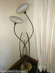 Vtg MCM 1950 Tulip Danish Teak Wood Brass Glass Majestic Floor Lamp Eames MINT