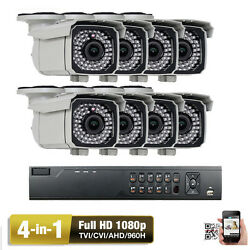 8CH AHD DVR 1080P 4-in-1 2.6MP 2.8-12mm Varifocal Lens Outdoor Security Camera