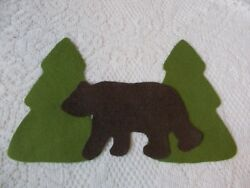 Bear and Tree Wool Felt Cuts for Pillows & Craft Projects
