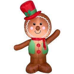 4' Christmas Gingerbread Man Airblown Inflatable Yard Decoration Outdoor Lighted