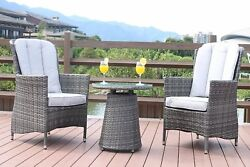 DW 3PC Patio Outdoor PE Rattan Garden Furniture Bistro Table Armchair Cushioned