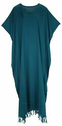 BeautyBatik Teal blue Women Caftan Kaftan Loungewear Maxi Plus Size Long Dress $35.99