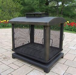 Oakland Living Black Iron Outdoor Wood-Burning Fireplace Outdoor Accessories