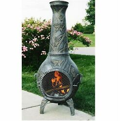 Oakland Living Antique Pewter Cast Iron Outdoor Wood-Burning Fireplace Outdoor
