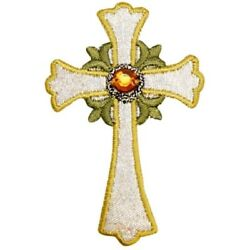 Cross with Jewel Applique Patch - Silver Gold Christian 2.5
