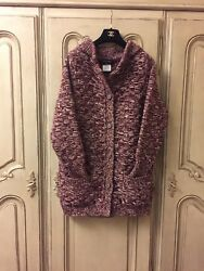 Chanel Red & White Cashmere Knit 'CC' Chain Button Cardigan Jacket SZ 40