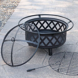 Portable Fire Pit Outdoor Firepit Wood Fireplace Heater Patio Deck Yard