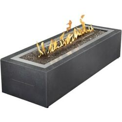 Outdoor Fireplace 48 Inch Rectangular Propane Stainless Cover Patio Furniture