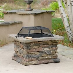Outdoor Fire Pit Natural Stone Square Heater Wood Burning Removable Mesh Cover