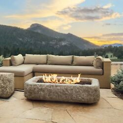 Outdoor Fire Pit Real Flame Antique Stone Square Propane Centerpiece Patio Decor