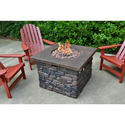 Outdoor Fire Pit Tabletop Heater Stacked Stone Column Liquid Propane Centerpiece