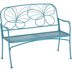 Outdoor Patio Bench Butterfly Furniture Patio Chair Backyard Garden Seat Blue