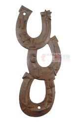 Horseshoes Welcome Sign Horseshoe Wall Decor Rustic Cast Iron Plaque Western 13quot; $18.95