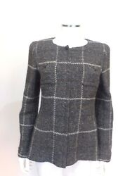 Chanel Gray Plaid blazer Silver Chain link buttons Sz 8 Fr 40