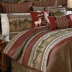 CROSCILL Oakwood QUEEN COMFORTER SET BEDSKIRT SHAMS DEER RUSTIC LODGE CABIN NIB