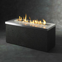 Black Stainless Steel 48-in W 88000-BTU Liquid Propane Gas Fire Pit Table