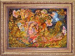 Circle of Life by Farshchian Persian Tableau Rug Silk Base hand woven with frame