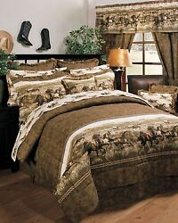 Wild Horses - Western Theme 8 Pc Comforter Set - Ranch Cabin Bed In A Bag