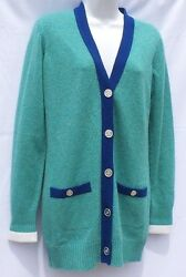 CHANEL Aqua Green Blue White Silver CC Button Cashmere Cardigan Tunic Sweater 36