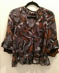 NANETTE LEPORE Size Small Silk 3 4 Sleeve Vintage Top with Velvet Sleeve Accents $24.99
