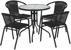 Outdoor Table And Chairs Rattan Stackable Metal Glass Patio Furniture 5 Piece