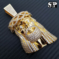 HIP HOP ICED 14K GOLD PLATED BLING BRASS MICRO PAVE LARGE JESUS HEAD PENDANT $37.99