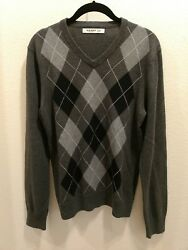 OLD NAVY Size Small Shades of Grey Black amp; White Argyle Cotton Sweater $14.99