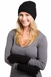 Fishers Finery Women's 100% Pure Cashmere Hat & Glove Set with Gift Box Black
