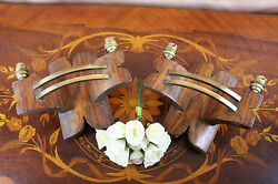 Antique rare PAIR Danish ? WOOD  COPPER Wall sconces art deco special
