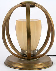 Art deco 1930 French antique table lamp copper geometric form rare