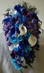 Turquoise Ivory White Rose Tiger Lily Cascading Bridal Wedding Bouquet Package