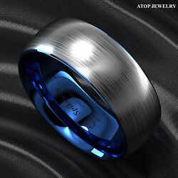 8mm Tungsten Carbide ring Silver Brushed Blue Inlay Wedding Band ATOP Men's Ring