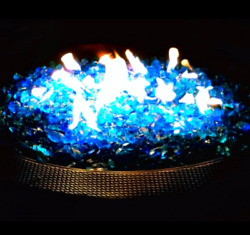 Fire Pit Glass Rock Propane Gas Beads Stones Turquoise Patio Heaters Outdoor