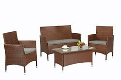 4 Pieces Outdoor Wicker Rattan Furniture Patio Set w Grey Cushion Cover Brown