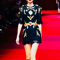 dolce and gabbana Runway dress 2015 summer COLLECTIBLE black lace and Swarovski