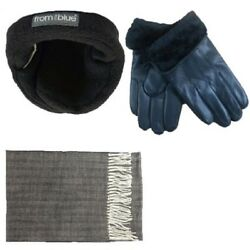 Men's Fur Black Pu Leather Gloves & Soft Cashmere Feel Scarf with Ear Warmer Set