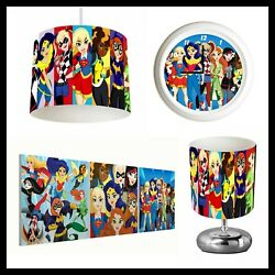 DC SUPERHERO GIRLS Girls Bedroom Lampshade Lamp Clock Canvas Prints GBP 26.99