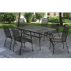 7 Pcs Outdoor Patio Dining Set w Mesh Top Patio Table & Wrought Iron Chairs