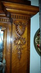 Birdseye Maple Victorian Era Early Antique Carved Fireplace Mantle