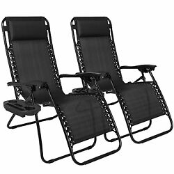 Outdoor Lounge Chairs Chaise Outdoor Patio Foldable Seat 2 Set Padded Headrest