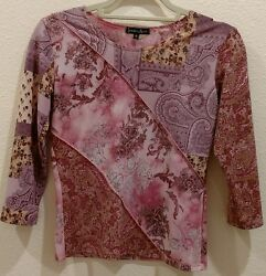JESSICA MAX Size Small Shades of Purple Floral Paisley 3 4 Sleeve Top $15.99