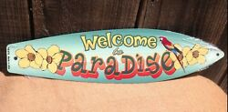 Welcome To Paradise Parrot Mini Novelty Beach Surf Board Sign 17quot; x 4.5quot; $16.95