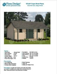16' x 24' Guest House  Garden Storage Shed with Porch Plans - Design #P81624