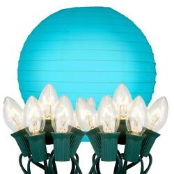Turquoise 10 in. Decorative 10-Light Paper Lantern with Electric String Lights