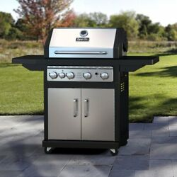Dyna-Glo 4-Burner Gas Grill with Cast Iron Grates Stainless Steel 4 Burner